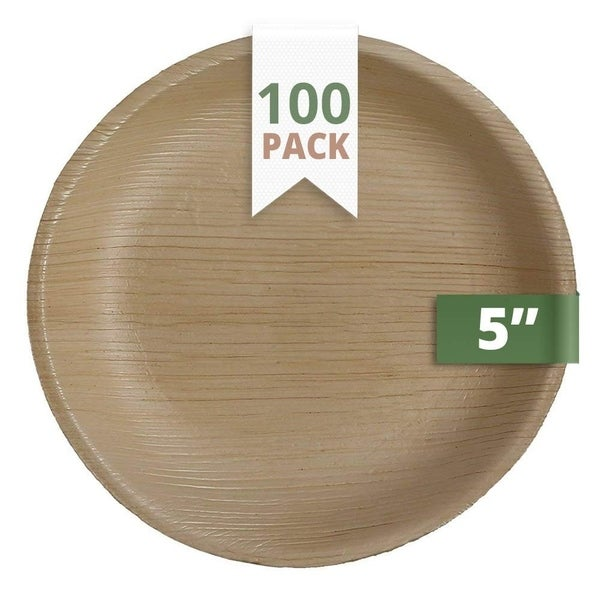CaterEco 5-inch Round Palm Leaf Plates Set (100 Pack) , Ecofriendly Disposable Dinnerware