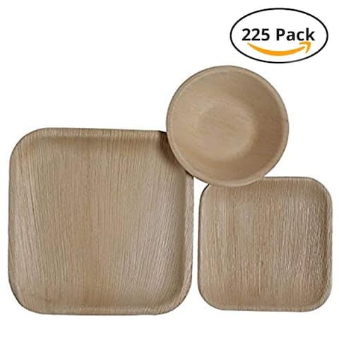 CaterEco Square Palm Leaf Plates Set (225 Pack) , (75) Dinner Plates, (75) Salad Plates and (75) Bowls