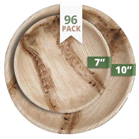 CaterEco Round Palm Leaf Plates Set (96 Pack) , (48) Dinner Plates and (48) Salad Plates , Ecofriendly Disposable Dinnerware
