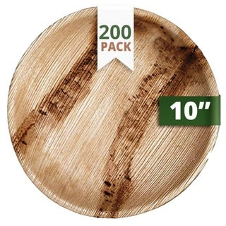 """CaterEco Round Palm Leaf 10"""" Dinner Plates , 200 Pack , Ecofriendly Disposable Dinnerware"""