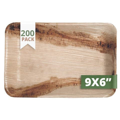 CaterEco Rectangle Palm Leaf Plates Set , 200 Pack , Size - 9 x 6 inches , Ecofriendly Disposable Dinnerware