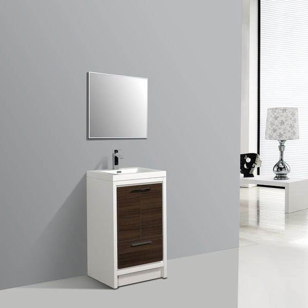 Eviva Grace 24 in. Gray Oak and White Vanity