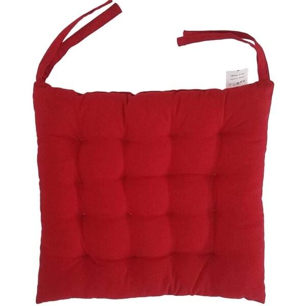 "Melange 100% Cotton Square 16"" x 16"" Chair Cushion, Red"