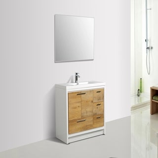 Eviva Grace 42 in. Natural Oak and White Vanity