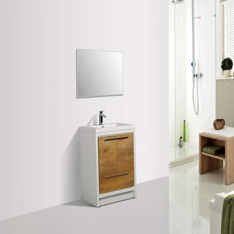 Eviva Grace 30 in. Natural Oak and White Vanity