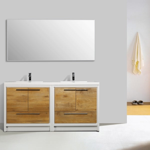 Eviva Grace 72 in. Natural Oak and White Vanity