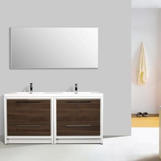 Eviva Grace 72 in. Gray Oak and White Vanity