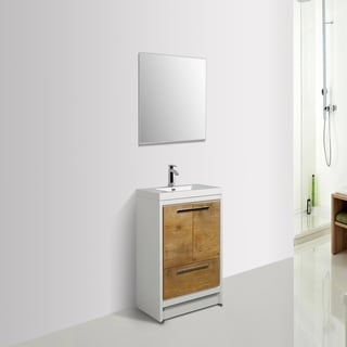 Eviva Grace 36 in. Natural Oak and White Vanity