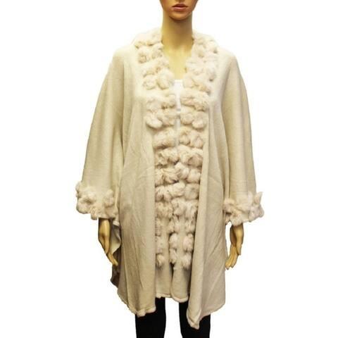 Women Faux Shawl Poncho Wrap Winter Cardigan Cap Warm Fashion Wear