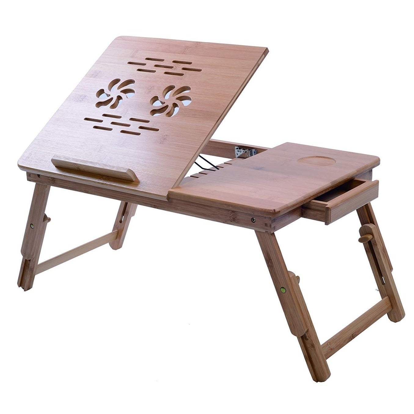 Adjustable Laptop Desk Table Bamboo Foldable Breakfast Serving Bed Tray with Storage Drawer Bamboo Wood Natural