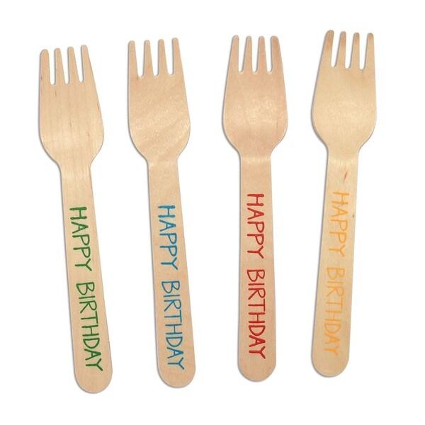 CaterEco 100-Piece Birchwood Compostable Forks, Happy Birthday Print