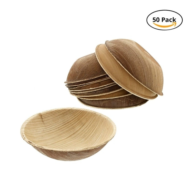 CaterEco 3.5-inch Round Palm Leaf Bowl Set (50 Pack) , Ecofriendly Disposable Dinnerware ,