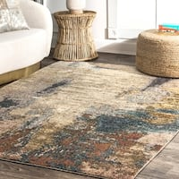 The Curated Nomad Maiden Abstract Distressed Mural Area Rug