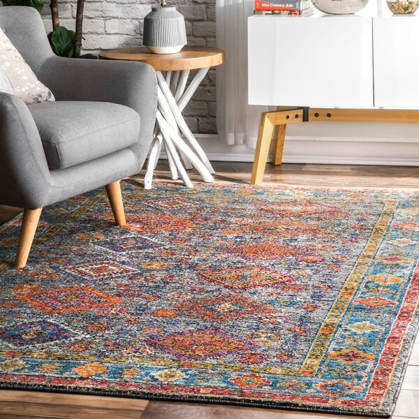 The Curated Nomad Lafayette Transitional Tribal Faded Aztec Border Area Rug