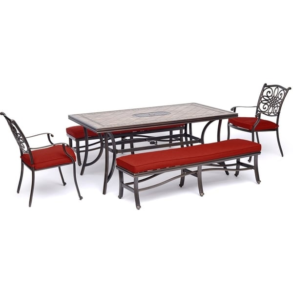 """Hanover Monaco 5-Piece Patio Dining Set in Red with 2 Dining Chairs, 2 Benches, and a 40"""" x 68"""" Tile-Top Table"""