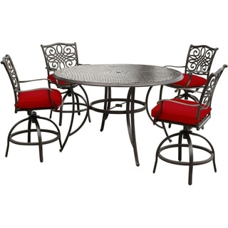 Hanover Traditions 5-Piece High-Dining Set in Red with Four Swivel Chairs and a 56 In. Cast-top Table