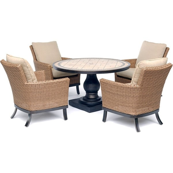 Hanover Monaco 5-Piece Patio Dining Set with 4 Woven Armchairs, Tan Cushions, and a 51 In. Round Tile-Top Pedestal Table