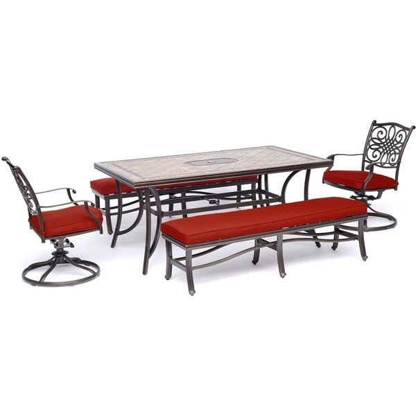"Hanover Monaco 5-Piece Patio Dining Set in Red with 2 Swivel Rockers, 2 Benches, and a 40"" x 68"" Tile-Top Table"