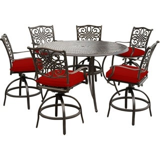 Hanover Traditions 7-Piece High-Dining Set in Red with 6 Swivel Chairs and a 56 In. Cast-Top Table