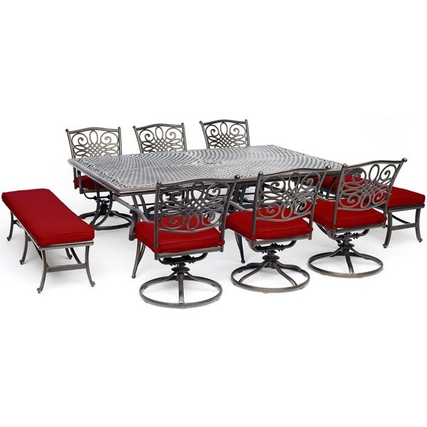 "Hanover Traditions 9-Piece Dining Set in Red with 6 Swivel Rockers, 2 Benches, and a 60"" x 84"" Cast-Top Dining Table"