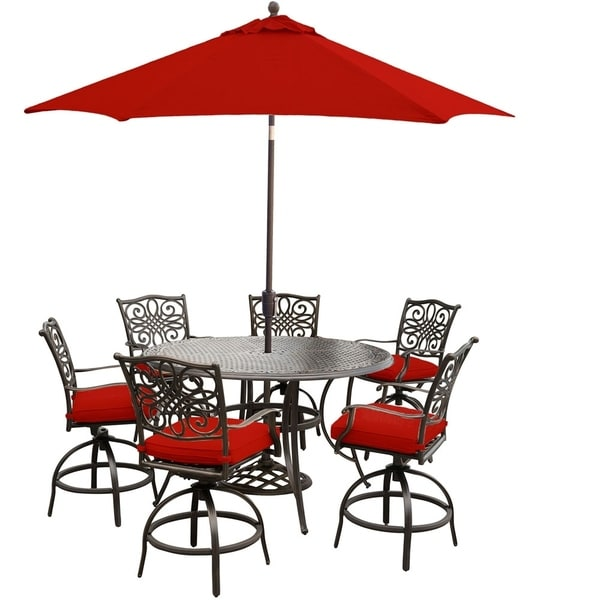 Hanover Traditions 7-Piece High-Dining Set in Red with 9 Ft. Table Umbrella and Stand