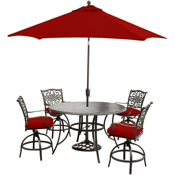 Hanover Traditions 5-Piece High-Dining Set in Red with 4 Swivel Chairs, 56 In. Cast-top Table, 9 Ft. Umbrella and Stand