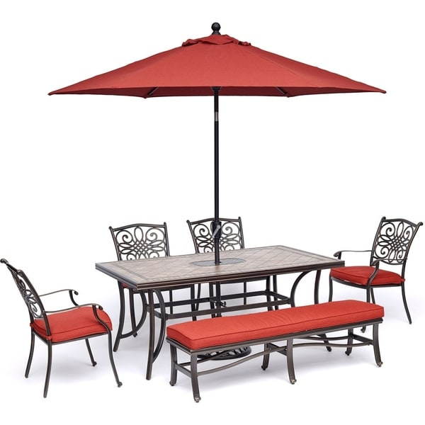 """Hanover Monaco 6-Piece Patio Dining Set in Red with 4 Dining Chairs, 1 Bench, 40"""" x 68"""" Tile-Top Table, 9-Ft. Umbrella and Stand"""
