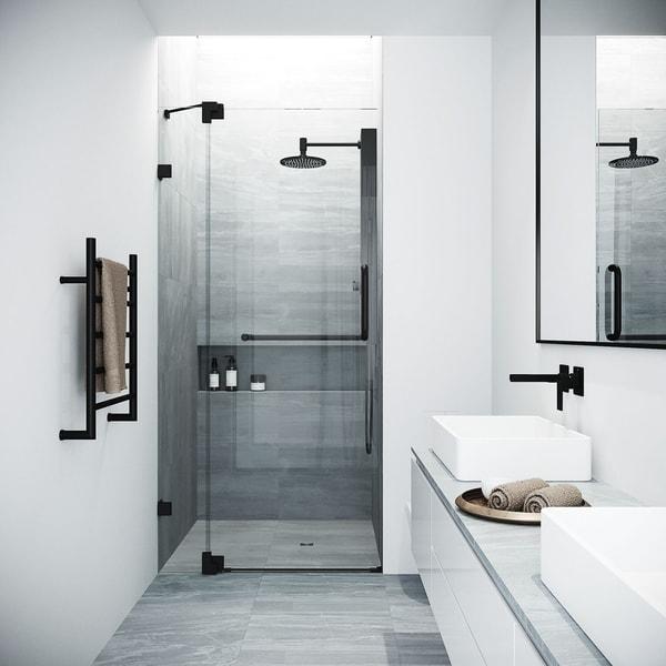 VIGO Pirouette Clear Glass 36-Inch Adjustable Frameless Pivot Shower Door