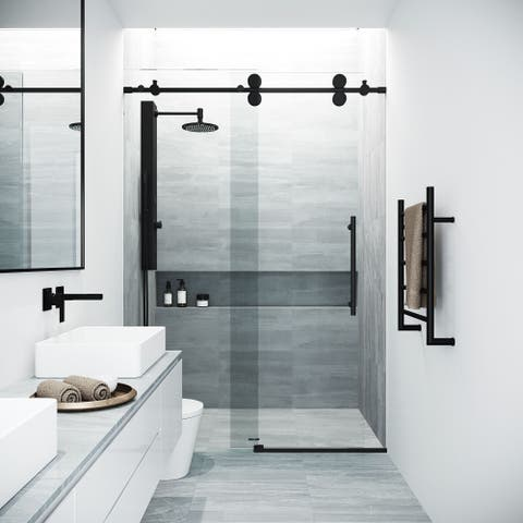 VIGO Elan Matte Black Tempered Glass 60-inch Adjustable Frameless Sliding Tub Door