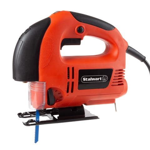 Stalwart Jigsaw 5 Amp Handheld Corded Electric Power Tool with Laser Guide, LED Light and Carry Case