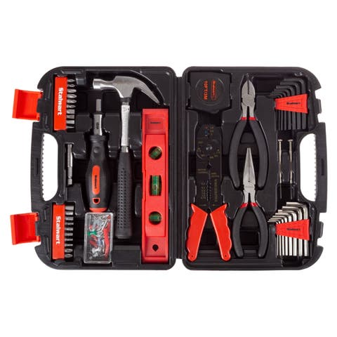 Tool Kit- 125 Heat-Treated Pieces with Carrying Case - Essential Steel Hand Tool and Basic Repair Set by Stalwart