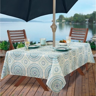 Circle Stitch Stain Resistant Indoor Outdoor Tablecloth