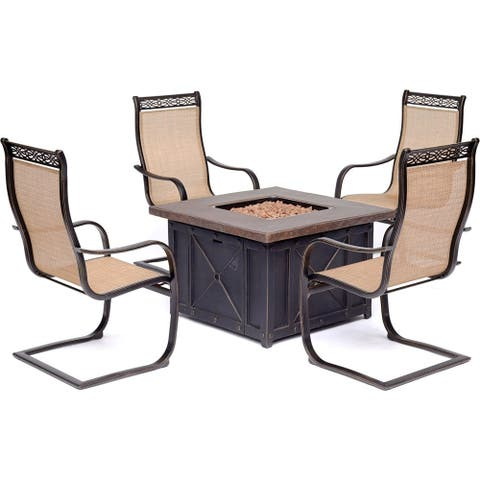 Hanover Monaco 5-piece Fire Pit Chat Set with Sling C-Spring Chairs