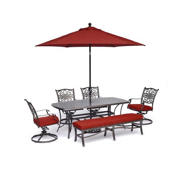 Hanover Traditions 6-Piece Dining Set in Red with 4 Swivel Rockers, 1 Bench, a Cast-Top Table, 9 Ft. Umbrella and Stand