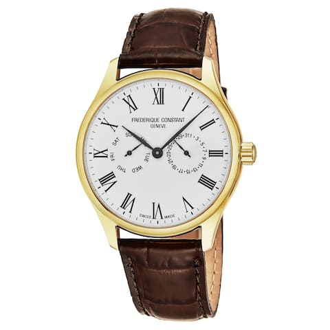 Frederique Constant Men's FC-259WR5B5 'Classics' Silver Dial Brown Leather Strap Day Date Swiss Quartz Watch