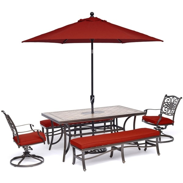 Hanover Monaco 5-Piece Patio Dining Set in Red with 2 Swivel Rockers, 2 Benches, Tile-Top Table, 9 Ft. Umbrella and Stand