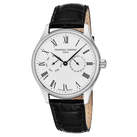 Frederique Constant Men's FC-259WR5B6 'Classics' Silver Dial Black Leather Strap Day Date Swiss Quartz Watch