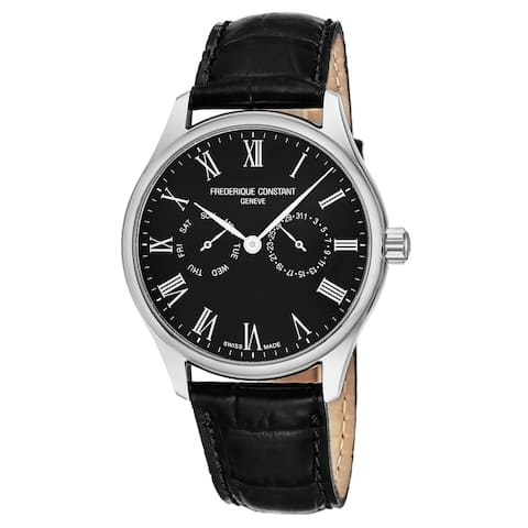 Frederique Constant Men's FC-259BR5B6 'Classics' Black Dial Black Leather Strap Date Day Swiss Quartz Watch
