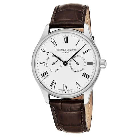 Frederique Constant Men's FC-259WR5B6DBR 'Classics' Silver Dial Brown Leather Strap Day Date Swiss Quartz Watch