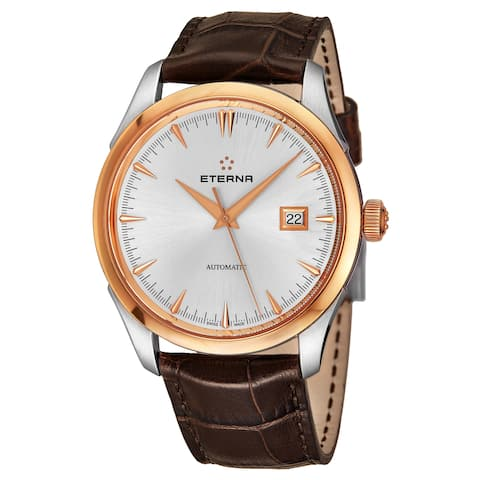 Eterna Men's 2951.53.11.1323 'Eternity' Silver Dial Brown Leather Strap Two Tone Automatic Swiss Made Watch