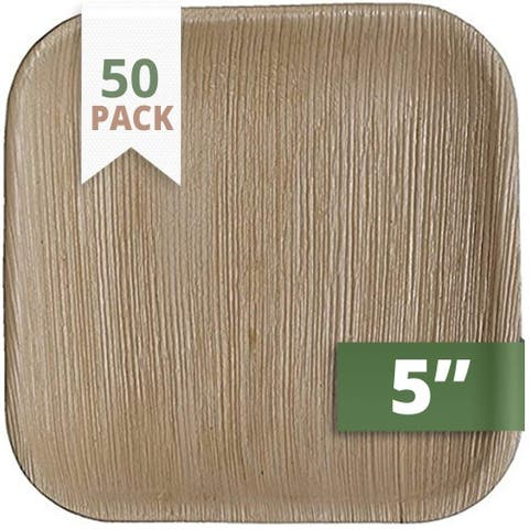 CaterEco 5-inch Square Palm Leaf Plates Set (50 Pack), Eco-friendly Disposable Dinnerware