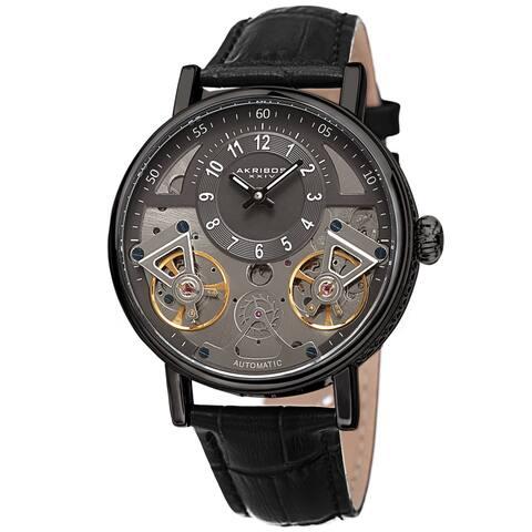 Akribos XXIV Men's Automatic Skeletal Wheel Leather Strap Watch - Black