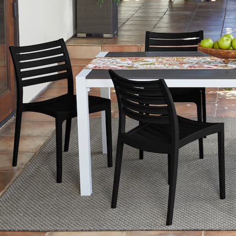 Havenside Home Hooper Bay Resin Indoor and Outdoor Armless Slat Back Dining Chairs (Set of 2)