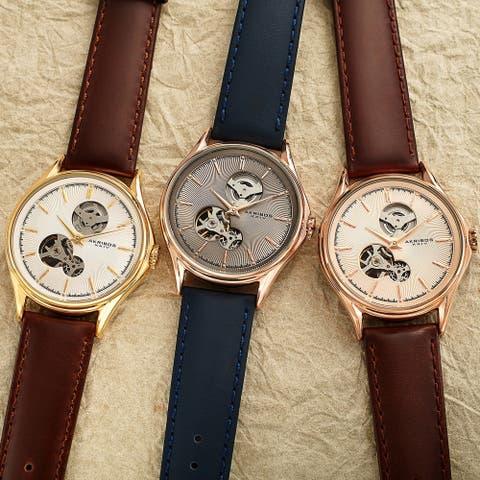 Akribos XXIV Men's Automatic Skeletal Guilloche Leather Strap Watch - Grey