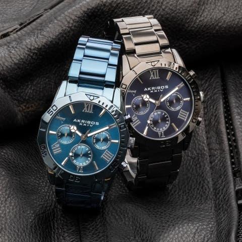 Akribos XXIV Men's Classic Date Stainless Steel Bracelet Watch