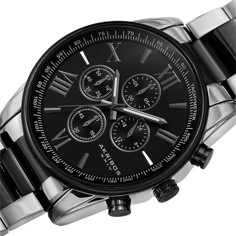 Akribos XXIV Men's Chronograph Tachymeter Quartz Bracelet Watch