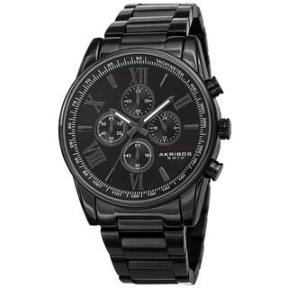 Akribos XXIV Men's Chronograph Tachymeter Quartz Bracelet Watch - Black