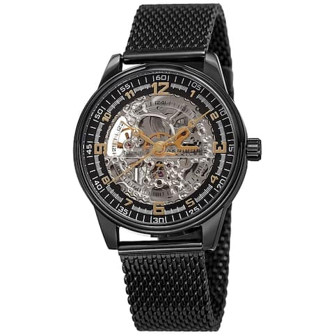 Akribos XXIV Men's Automatic Skeleton Mesh Strap Watch
