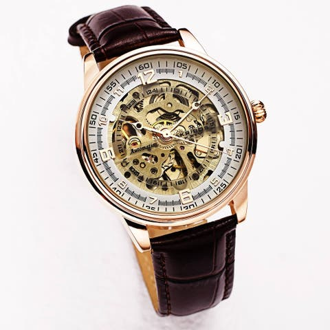 Akribos XXIV Men's Skeletal Automatic Leather Strap Watch - Rose