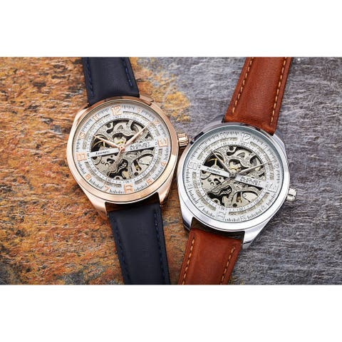 August Steiner Men's Automatic Skeletal Leather Strap Watch - Rose